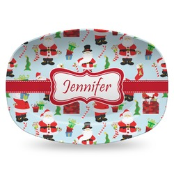 Santas w/ Presents Plastic Platter - Microwave & Oven Safe Composite Polymer (Personalized)