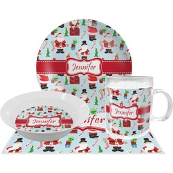 Santas w/ Presents Dinner Set - 4 Pc (Personalized)