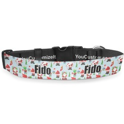 Santas w/ Presents Deluxe Dog Collar (Personalized)