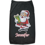 Santa and Presents Black Pet Shirt (Personalized)