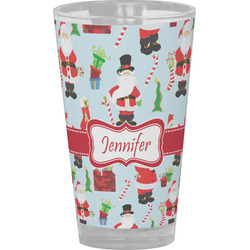 Santas w/ Presents Drinking / Pint Glass (Personalized)