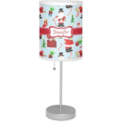 """Santas w/ Presents 7"""" Drum Lamp with Shade Linen (Personalized)"""