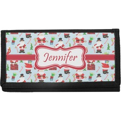 Santa and Presents Canvas Checkbook Cover w/ Name or Text