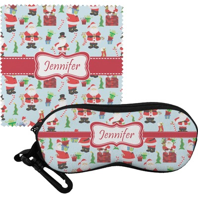 Santas w/ Presents Eyeglass Case & Cloth (Personalized)
