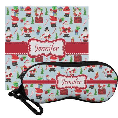 Santas w/ Presents Eyeglass Case & Cloth (Personalized)