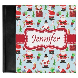 Santas w/ Presents Genuine Leather Baby Memory Book (Personalized)
