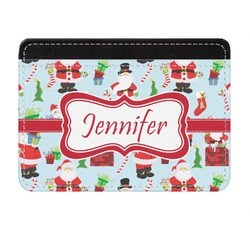 Santas w/ Presents Genuine Leather Front Pocket Wallet (Personalized)