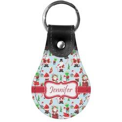 Santas w/ Presents Genuine Leather  Keychain (Personalized)
