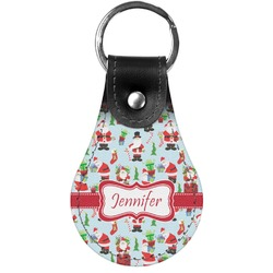 Santas w/ Presents Genuine Leather  Keychain (Personalized)
