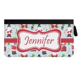 Santas w/ Presents Genuine Leather Ladies Zippered Wallet (Personalized)
