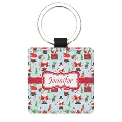 Santas w/ Presents Genuine Leather Rectangular Keychain (Personalized)