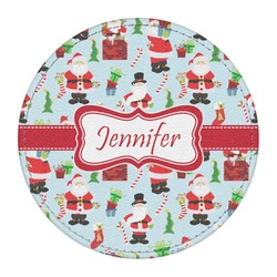 Santas w/ Presents Round Desk Weight - Genuine Leather  (Personalized)