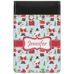Santas w/ Presents Genuine Leather Small Memo Pad (Personalized)