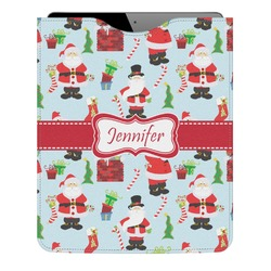 Santas w/ Presents Genuine Leather iPad Sleeve (Personalized)