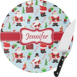 Santas w/ Presents Round Glass Cutting Board (Personalized)