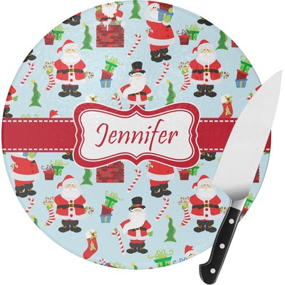Santa and Presents Round Glass Cutting Board (Personalized)