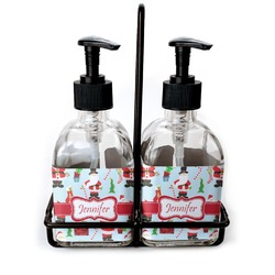 Santas w/ Presents Soap & Lotion Dispenser Set (Glass) (Personalized)