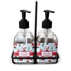 Santas w/ Presents Soap & Lotion Dispenser Set (Glass) (Personalized)