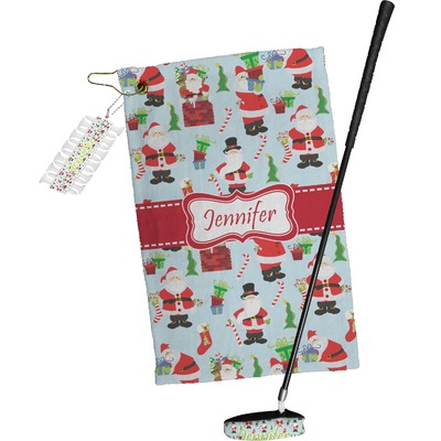 Santa and Presents Golf Towel Gift Set w/ Name or Text