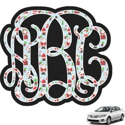 Santas w/ Presents Interlocking Monogram Car Decal (Personalized)