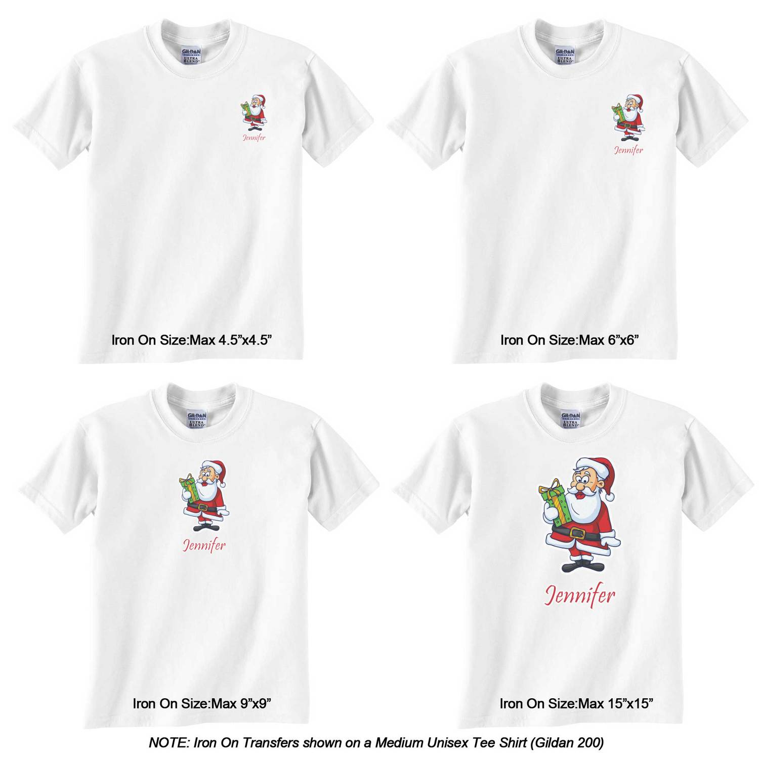 Santas W Presents Graphic Iron On Transfer Personalized