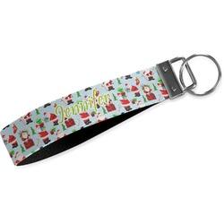 Santas w/ Presents Wristlet Webbing Keychain Fob (Personalized)