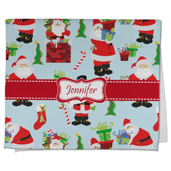 Santa and Presents Kitchen Towel - Full Print w/ Name or Text