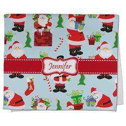 Santas w/ Presents Kitchen Towel - Full Print (Personalized)