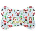 Santas w/ Presents Bone Shaped Dog Food Mat (Personalized)
