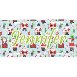 Santa and Presents Front License Plate (Personalized)