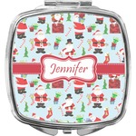 Santas w/ Presents Compact Makeup Mirror (Personalized)