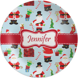 "Santas w/ Presents Melamine Plate - 8"" (Personalized)"