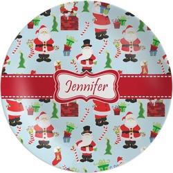 Santas w/ Presents Melamine Plate (Personalized)