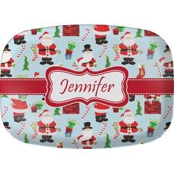 Santas w/ Presents Melamine Platter (Personalized)
