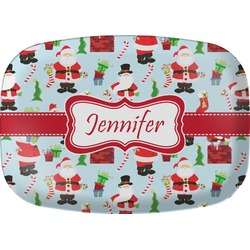 Santas w/ Presents Melamine Platter (Personalized)