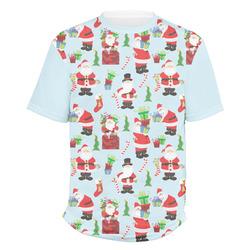 Santas w/ Presents Men's Crew T-Shirt (Personalized)