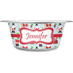 Santas w/ Presents Stainless Steel Dog Bowl (Personalized)