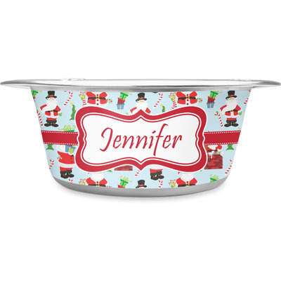 Santa and Presents Stainless Steel Dog Bowl (Personalized)