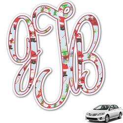 Santas w/ Presents Monogram Car Decal (Personalized)