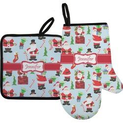 Santa and Presents Oven Mitt & Pot Holder Set w/ Name or Text
