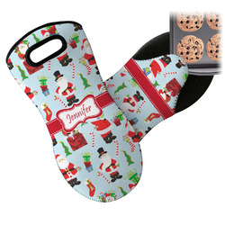 Santas w/ Presents Neoprene Oven Mitt (Personalized)