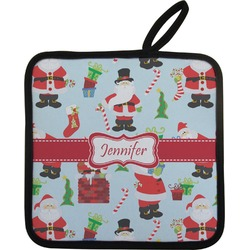 Santas w/ Presents Pot Holder (Personalized)