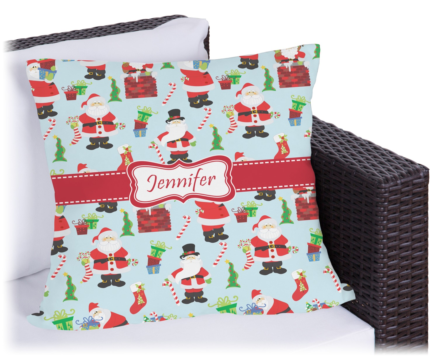 santas w presents outdoor pillow personalized - Christmas Outdoor Pillows