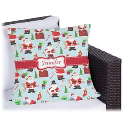 Santas w/ Presents Outdoor Pillow (Personalized)