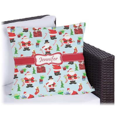 Santa and Presents Outdoor Pillow (Personalized)