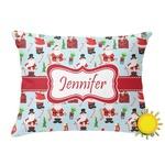 Santas w/ Presents Outdoor Throw Pillow (Rectangular) (Personalized)