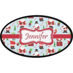 Santas w/ Presents Oval Trailer Hitch Cover (Personalized)