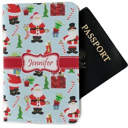 Santas w/ Presents Passport Holder - Fabric (Personalized)