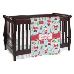 Santas w/ Presents Baby Blanket (Personalized)