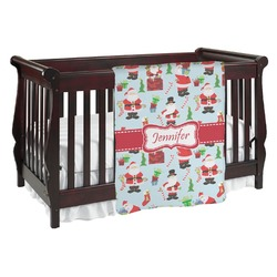 Santas w/ Presents Baby Blanket (Personalized)